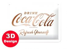 White Coca Cola - 3D  Metal Wall Sign (Small)